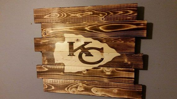 Kansas City Chiefs charred wood sign by CarolinaPalletDesign