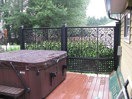 Privacy panel for hot tub on deck 32 per panel sold at for Porch screen panels home depot