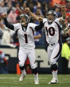 Denver Broncos' Jason Elam (1) celebrates his game winning field goal with Broncos' Todd Sauerbrun (10) during the fourth quarter of the NFL football game at Ralph Wilson Stadium in Orchard Park, N.Y., Sunday, Sept. 9, 2007. The Broncos won 15-14. (AP Photo/ Rochester Democrat and Chronicle, Jamie Germano)