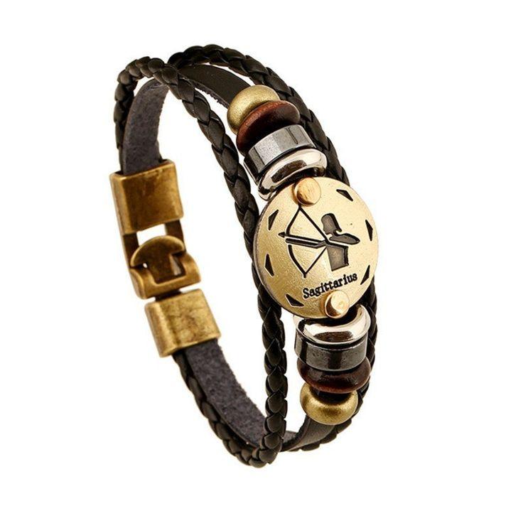 Zodiac Signs Black Gallstone Leather Bracelet