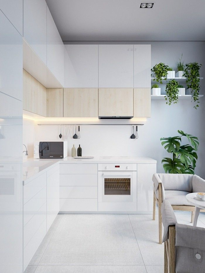 Schöne Wohnideen Weiße Küche Im Minimalistischen Stil Mit Grünen Pflanzen