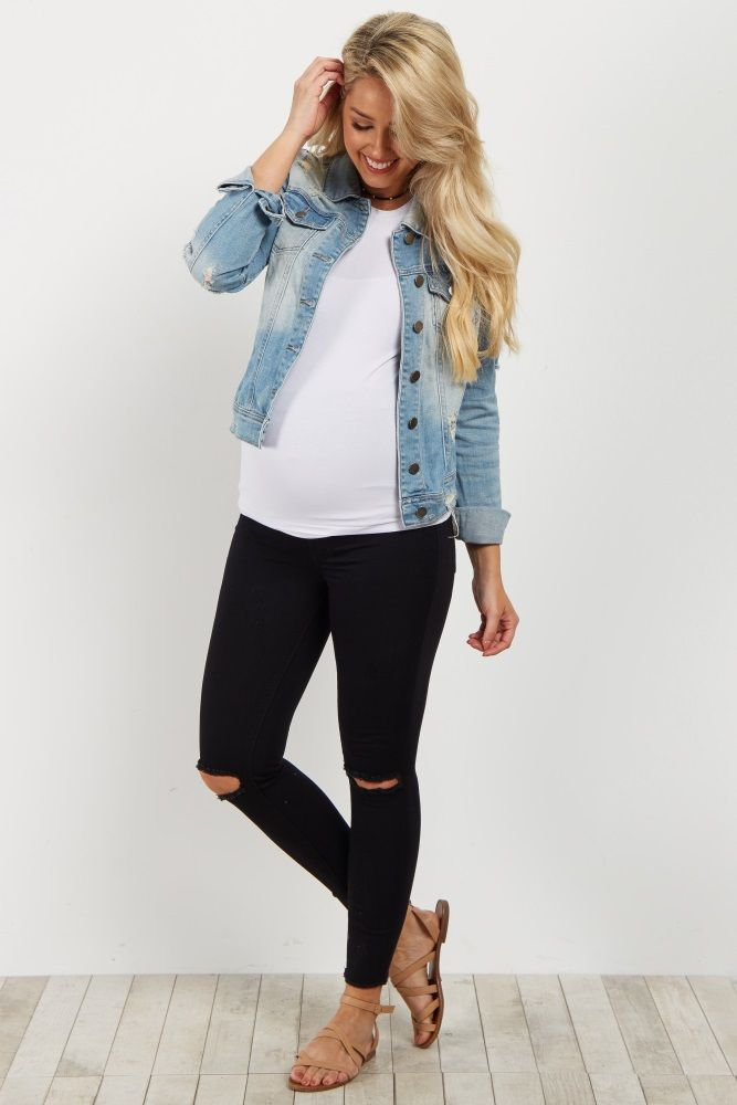 A stylish maternity jean that is the perfect casual essential. This maternity jean has fringe detailing and a distressed accents that gives them style. Pair these jean with a tee and sneakers for a complete look.