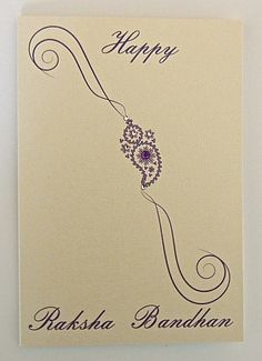 A quality textured card which has been hand embellished, measuring 110mm x 158mm.   A simple and elegant illustration of a rakhi.  Blank inside for your own message.   Available at http://www.pumiandjeeti.co.uk/