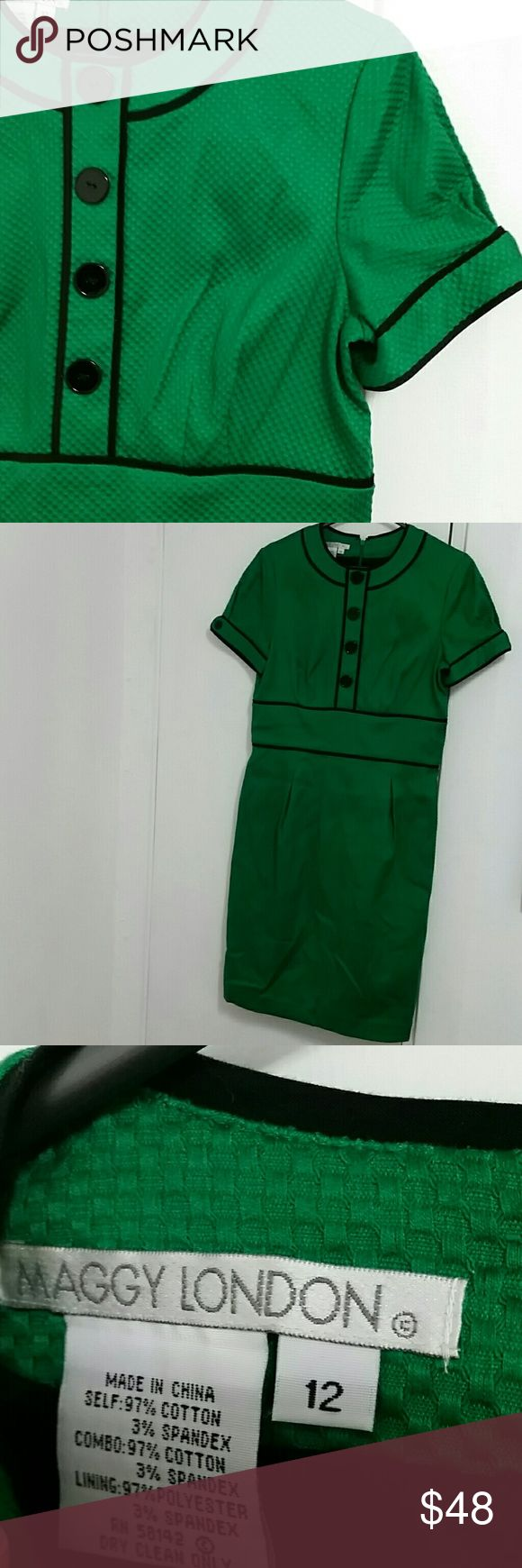 Maggy London vintage (looking?) Dress Kelly green and black Maggy London dress. Bought at a vintage store, but I'm not sure it is actually vintage.  Def has a retro style though. Said it was NWOT and I didn't try it on there...oops. Size 12. Excellent condition. Adorable buttons and trim. Maggy London Dresses