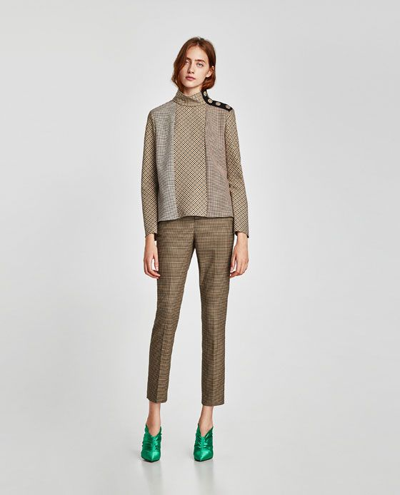ZARA - WOMAN - PATCHWORK TOP WITH SHOULDER BUTTONS