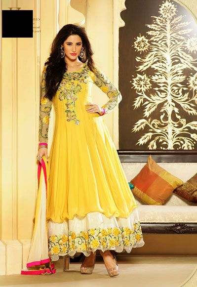 USD 82.87 Nargis Fakhri Yellow Embroidered Long Anarkali Suit    33868