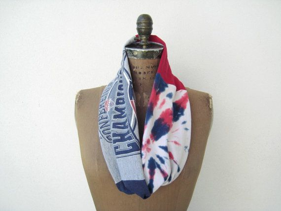 New England Patriots T Shirt Infinity Scarf / Upcycled / by ohzie