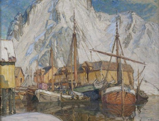 Anna Boberg (Swedish, 1864 - 1935): The Harbour at Svolvaer, Lofoten (via Stockholm Nationalmuseum)