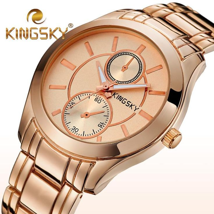 Girl Hot 2015 Pink Rose Gold Sweet Young Round Brief Women Lady Alloy Kingsky Brand Watch Quartz Bracelet Luxury Wrist Party