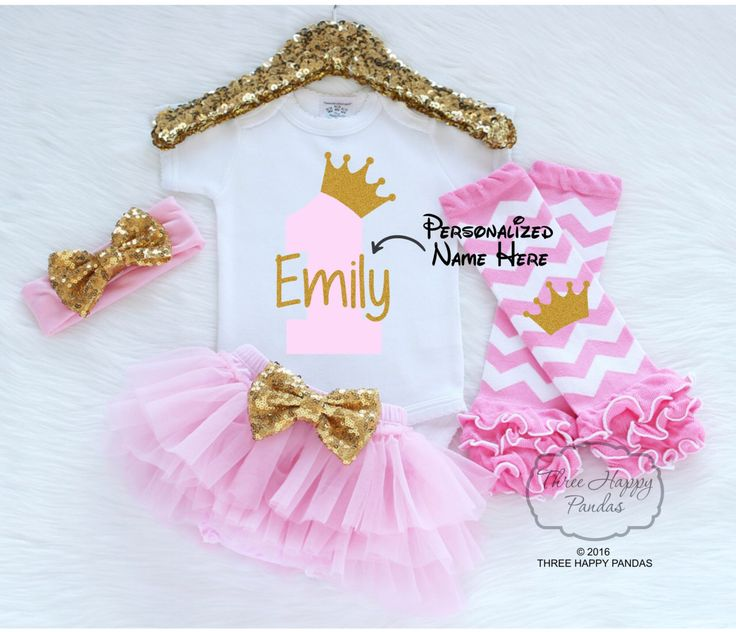 Personalized First Birthday Outfit Girl, One Birthday Outfit, 1st Birthday Girl Outfit, Princess Birthday Outfit, First Birthday Tutu B12 by ThreeHappyPandas on Etsy https://www.etsy.com/listing/465641507/personalized-first-birthday-outfit-girl