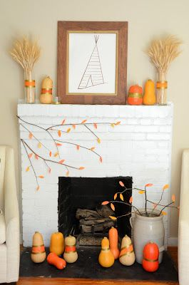 {IRON + TWINE}: Fall Fireplace Mantel | Painted Gourds & Tissue Paper Leaves