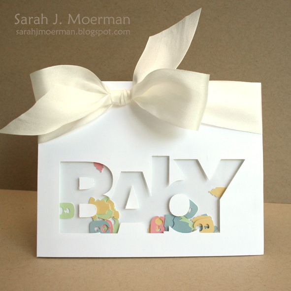 My Impressions: Baby Shaker Card (Card Creations Vol. 11 Share) -Make your own 'confetti' for shaker cards- why did I never think of that!