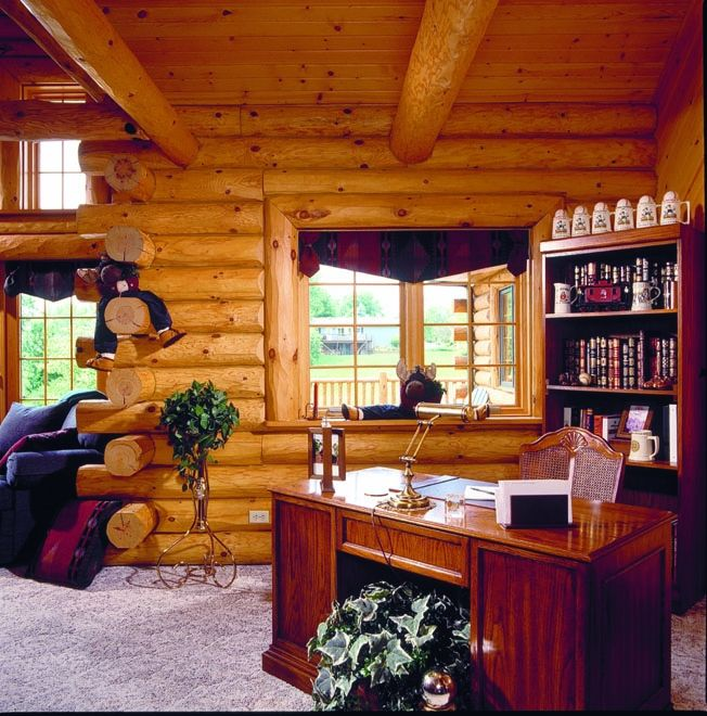 8 best log home office images on pinterest log cabin for Log cabin sunrooms