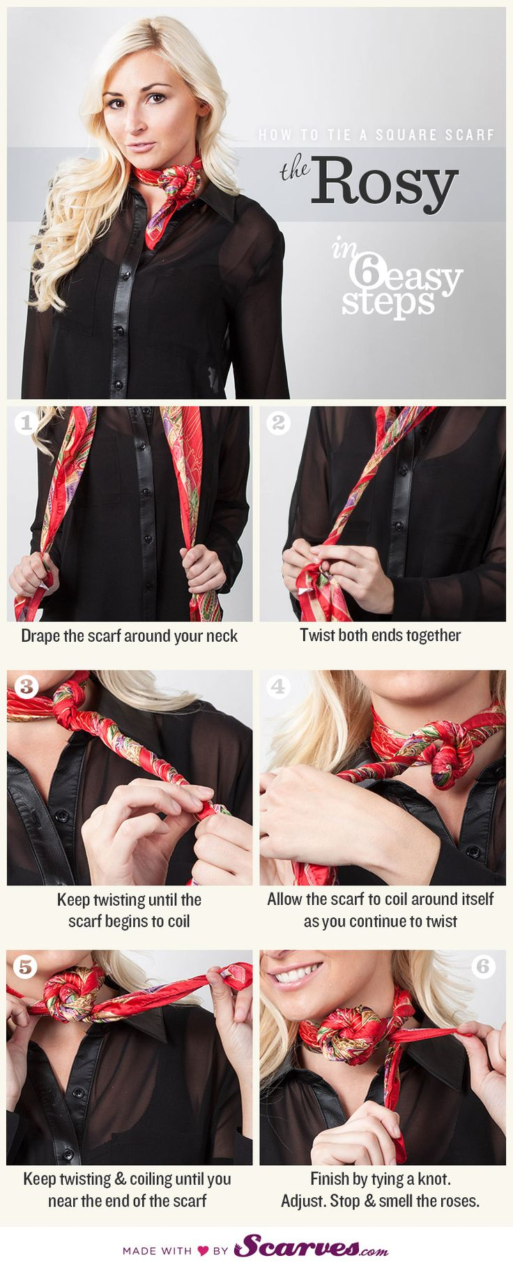 How To Tie a Square Scarf - The Rosy: