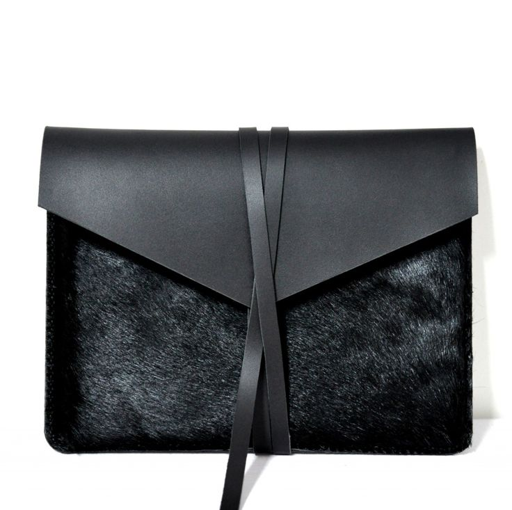 "Handmade Black Leather MacBook Air 13"" Case/Holster /Cover/Bag/ Envelope Bag made by Ivy QiIt looks warm and pure and special cool ,hide&strong hand feelsMaterial:One side made of 100% genuine ho.."