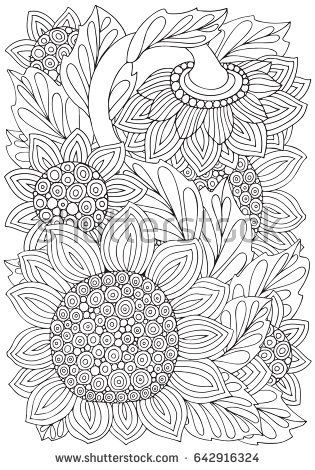 Coloring Book Page With Sunflowers And Leaf In Zentangle
