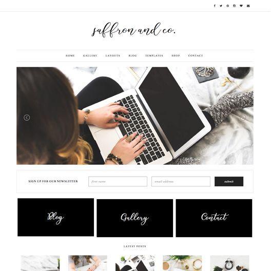 "Feminine Premium WordPress Theme ""Saffron"" | By: Pish and Posh Designs"
