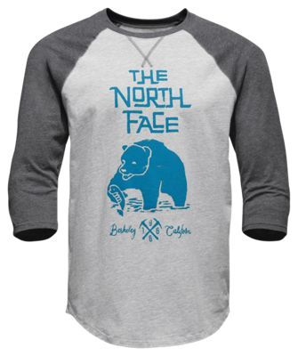 The North Face 3/4 Grizzly Baseball T-Shirt for Men - TNF Lt. Gr Hthr/TNF Dk Gr Hthr - 2XL
