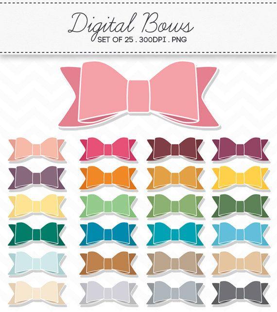 Bow Clipart / Ribbon Digital Bow Ties / Clip Art Set by AzmariDigitals