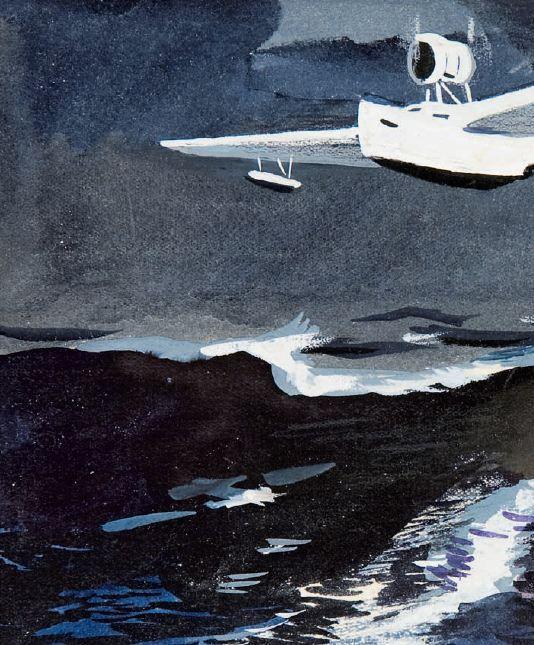 Художник Александр Дейнека. Иллюстрации. Летающая лодка. 1940