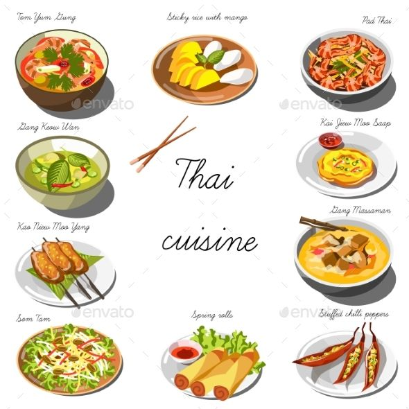 Thai Cuisine Set. Collection of Food Dishes by Sonulkaster Thai cuisine set. Collection of food dishes for the decoration of restaurants, cafes, menus. Vector Illustration. Isolated on whit