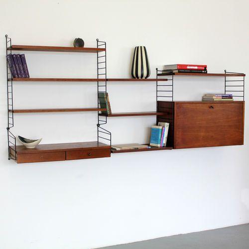 Original Nisse Strinning Teakwood Wall-Unit 60s | Teak String Regal System 60er