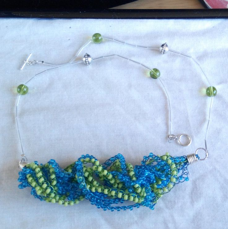Blue green Crochet beaded necklace. made in Ireland by terramor on Etsy