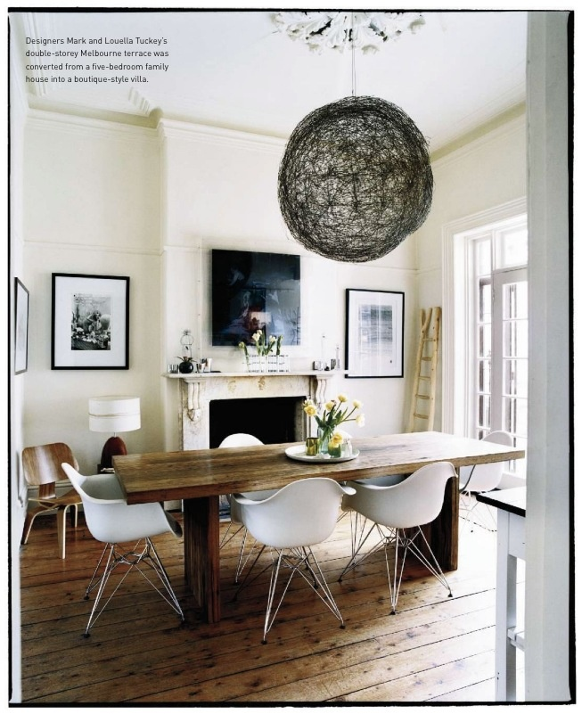 dining room with farmhouse table and white mid century chairs home