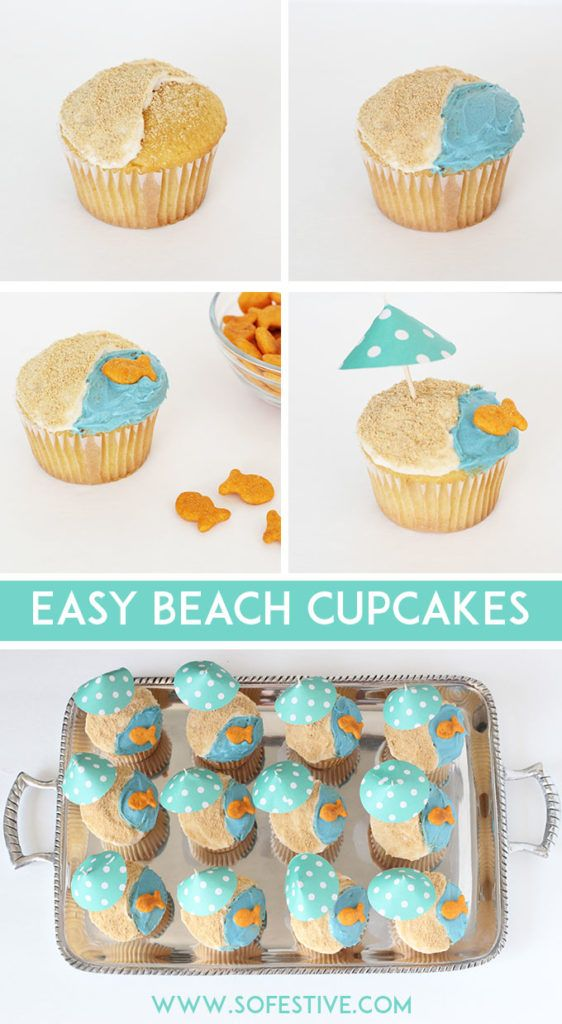 Adorable Beach Cupcakes for Summer Party or End of School Year - Click through to see how to make these cute mini umbrellas, too!