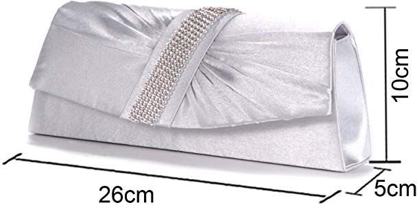 Silver Diamante Satin Pleated Women Bag Evening Bridal Clutch Bag Handbag Purse