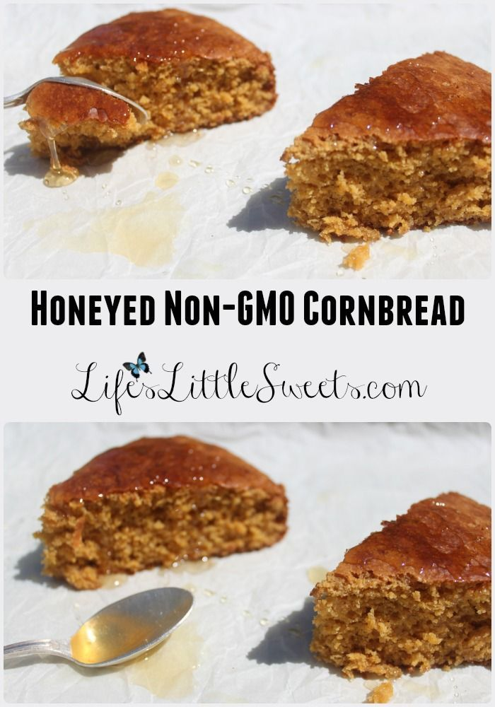 This sweet cornbread recipe utilizes Non-GMO ingredients, including Non-GMO corn meal, coconut oil and coconut sugar drizzled with local honey. #nongmo #cornbread #lifeslittlesweets #honey #local #nongmoproject @nongmoproject #recipe
