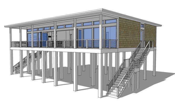 Plan 44073TD: Modern Piling Loft-Style Beach Home Plan ...