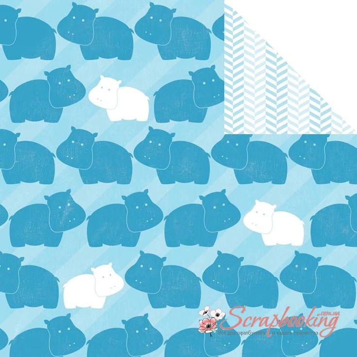 Лист бумаги для скрапбукинга Blue Hippopotamus из коллекции My Baby Boy производителя Imaginisce. Размер листа 30*30см. Плотность бумаги 180гр/м2, бумага с двусторонней печатью