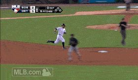 JV offers the oxygen mask to Bryan Holaday after his first career triple. (6/7/14) [gif]