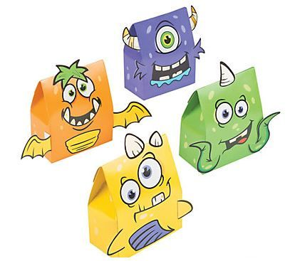 Monster Party Treat Box (6).  Send your monster party guests home with some gifts and goodies stuffed inside these funny party loot & favor boxes! Kids will love getting their claws on these unique monster boxes at your next monster birthday party or Halloween event. Add these cute creatures to your stash of party supplies.  Cardboard. 10.2 cm x 5.08 cm 12.7 cm. Incudes (6) six boxes; various designs