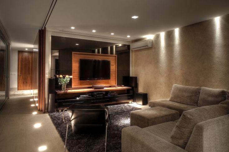 Decoracao Sala Tv Lcd ~  Salas de TV – veja 30 modelos lindos e dicas decoração!  SALA TV
