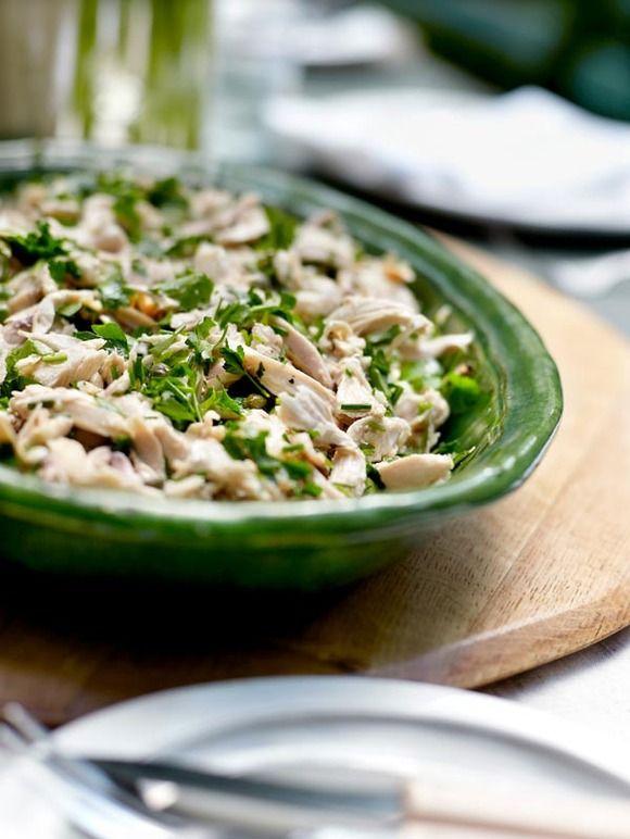 Receta de ensalada de lechuga y pollo con champiñones