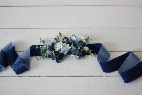 Dusty blue wedding Velvet belt Bridal accessories Bridesmaid sash Floral belt Bo…