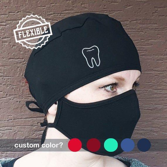 Handmade With Mask Set Scrub Hat Cap Women Ladies  Black