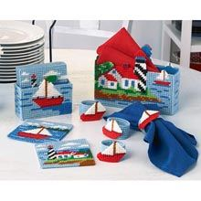 Seaside Coasters, Napkin Holder and Rings Plastic Canvas Kits - Herrschners