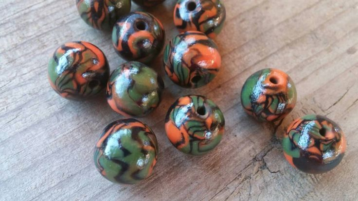Green and Orange polymer clay beads - Item #B1016 - Beading supplies - Jewelry supplies - bead store - jewelry making - pinned by pin4etsy.com