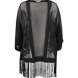 Black Embroidered Tassle Kimono