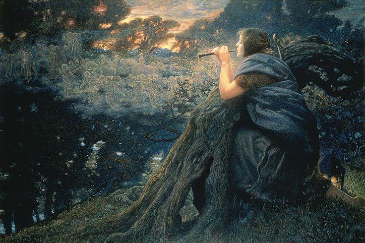 Edward Robert Hughes (British 1849–1914) [Pre-Raphaelite, Aesthetic] Twilight Fantasies, 1911.