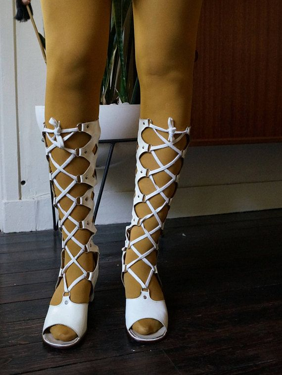 vintage gogo boots gladiator lace up space age go go psychedelic mod hippie 1960s 1970s 60s 70s