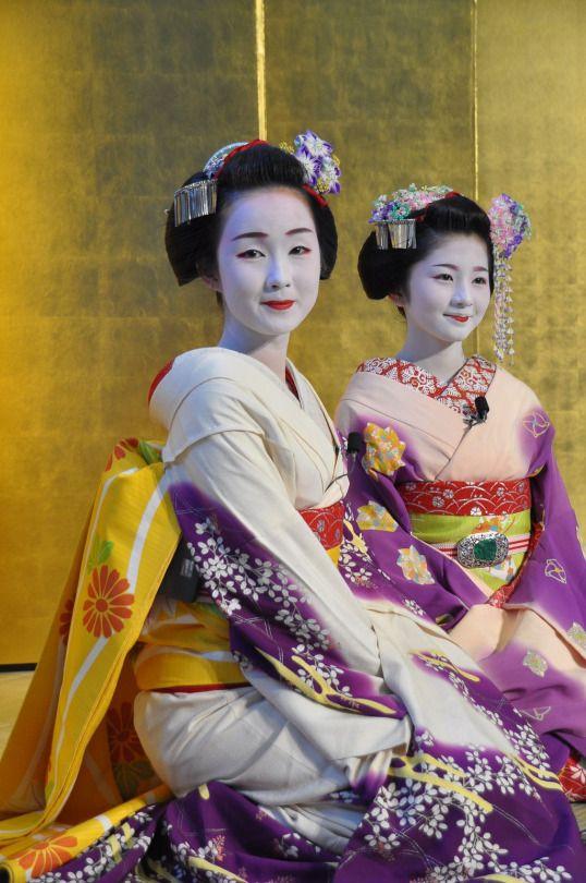 Memory lane: Kyoka (now a retired geiko) and Satsuki (now a geiko) in their maiko days
