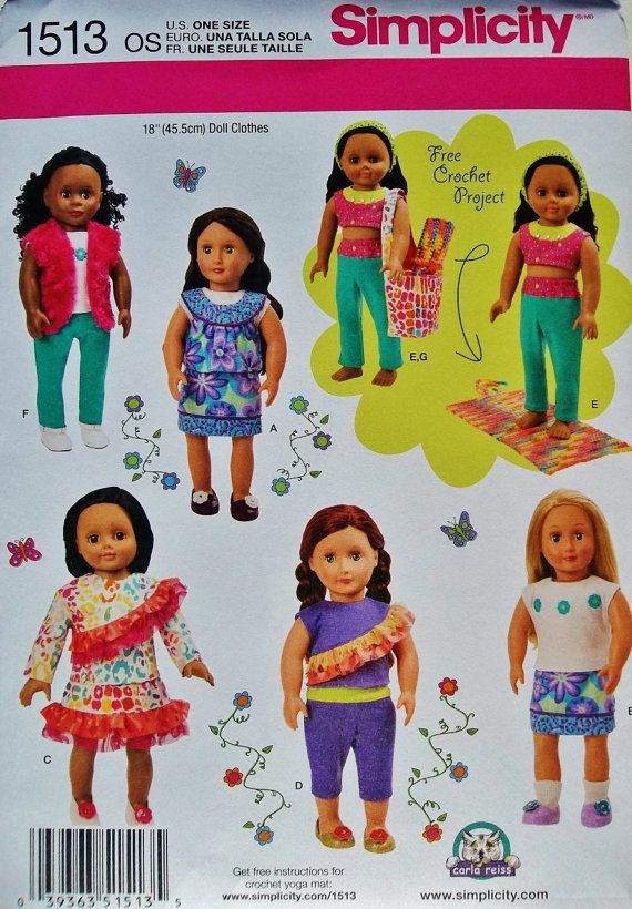 18 inch Doll Clothes Pattern Simplicity 1513 sewing by
