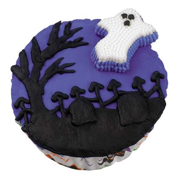 Ghostly Graveyard Greetings Cupcakes - Tread lightly or you'll wake the dead! Graveyard scene with iron  fence and flying spirit make these Halloween cupcakes extra spooky.