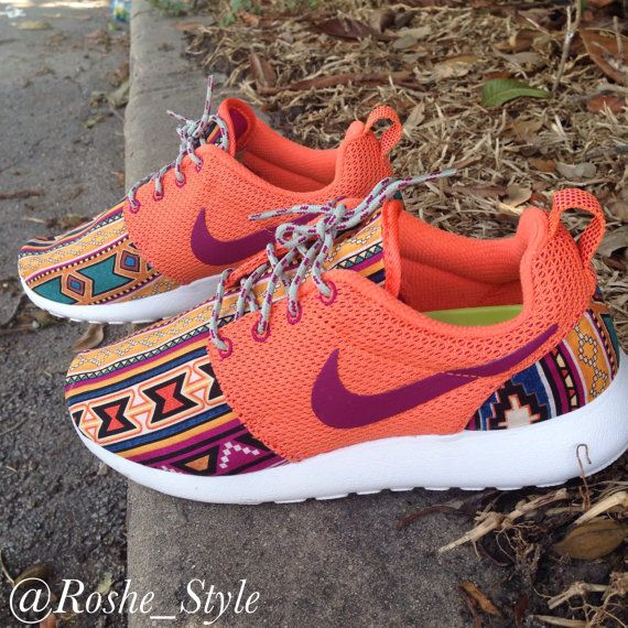 Women's Turf Orange Tribal Custom Roshe Sz 8 by SergioCustoms