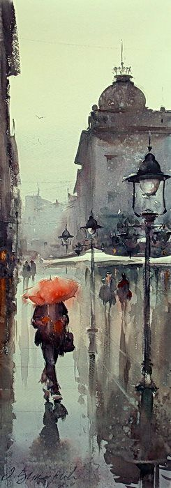 Dusan Djukaric Belgrade lamps, watercolor, 70x26 cm