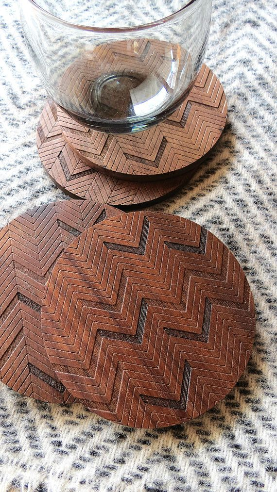 Wood Coasters Engraved Herringbone